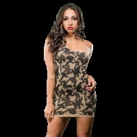 Naughty Girl Camo Dress One Shoulder O/S