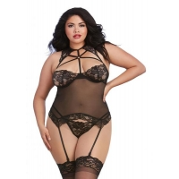 Bustier & G-String Black O/S Queen