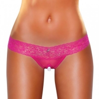 Crotchless Panties Pearl Beads Hot Pink S/M