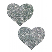 Heart Silver Glitter Pasties O/S
