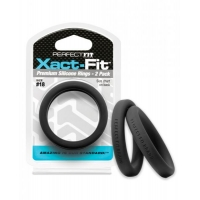 Perfect Fit Xact-Fit #18 2 Pack Black Cock Rings