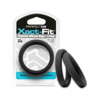 Perfect Fit Xact-Fit #19 2 Pack Black Cock Rings