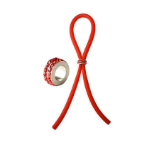 Bolo C-Ring Lasso Red Gems Bead Silicone Red