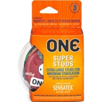One Super Studs Latex Condoms 3 Pack