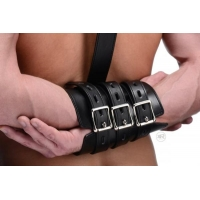 Arm Binder Biceps & Forearm Restraints Black Leather